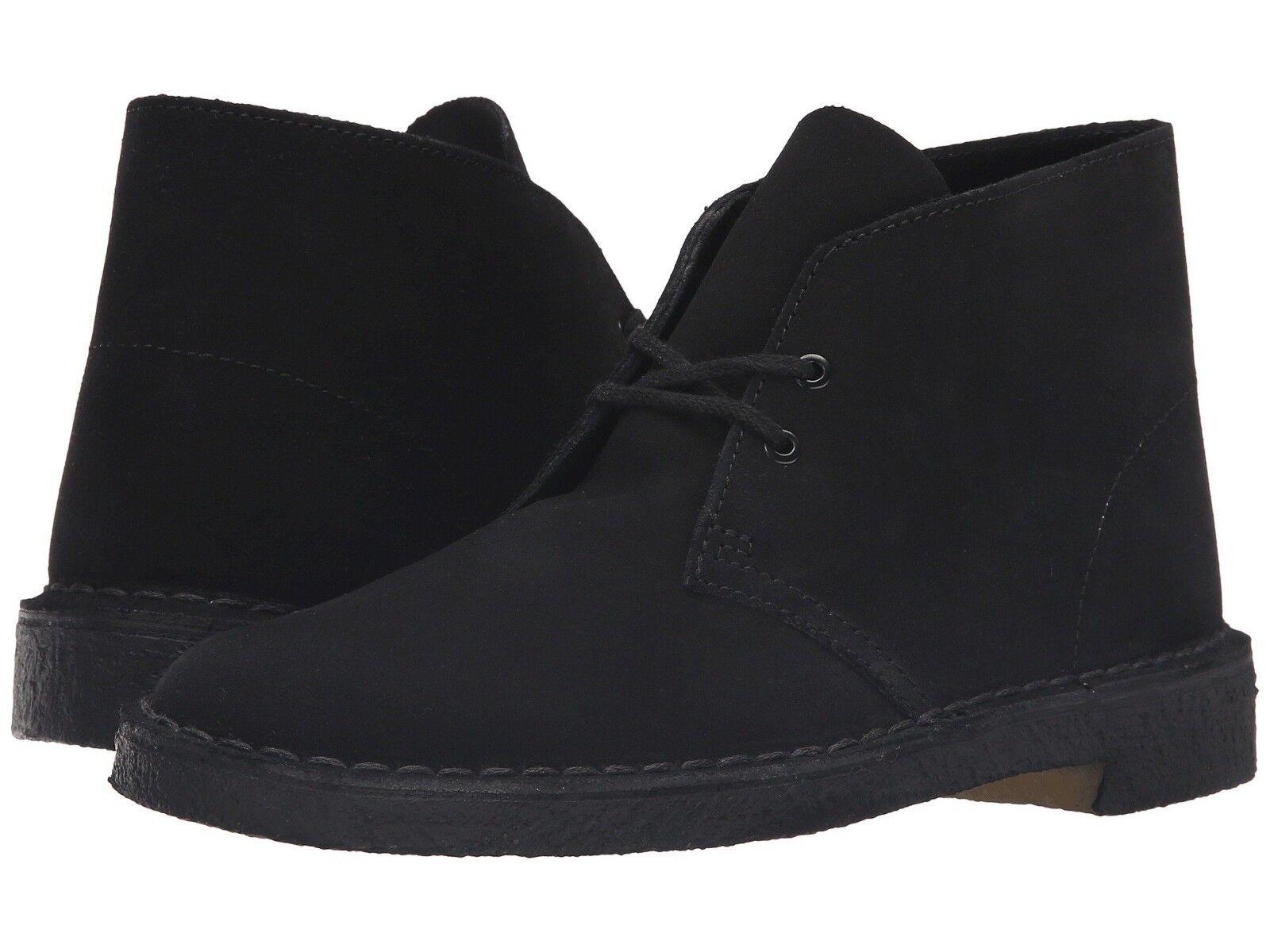 Nuevo Para hombres Cuero Gamuza Negra Clarks Bushacre 2 Chukka botas Zapatos Auténtico