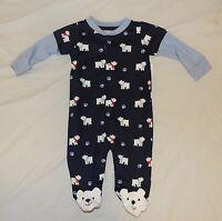 Baby Polar Bear Pajamas W/feet Size 0-3 Months Cotton Winter Christmas Blue