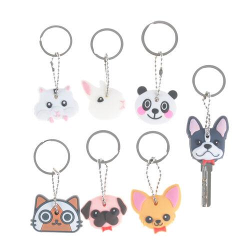 Puppy Pug Cat Rabbit Key Cover Cap Keychain Key Ring PVC Key Case Unisex Gift gz