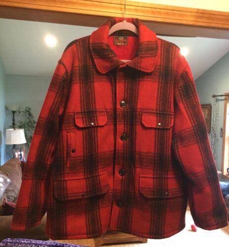Vintage Johnson Woolen Mills HEAVY COAT Red Plaid