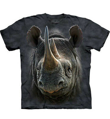 100% Vero The Mountain 100% Cotton T-shirt Bambini Maglia Nera Rhino S-m-l Made In Usa