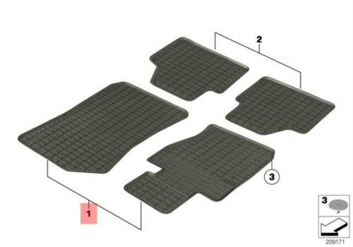 Genuine BMW All-Weather Rubber Front Floor Mats Anthracite E84 X1 51472336796
