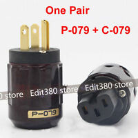 Gold Plated C-079 IEC Female P-079 Male US Power plug Audio Connector Hifi DIY