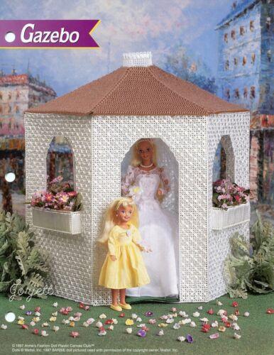 Gazebo ~ fits Barbie dolls Annie/'s plastic canvas pattern leaflet NEW