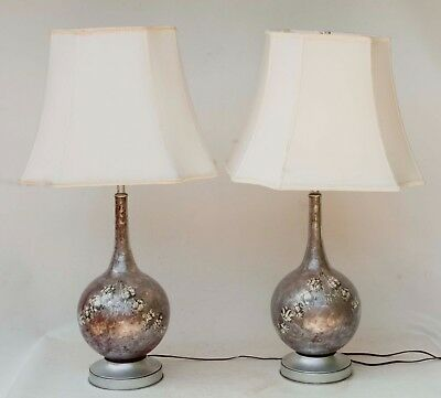 Vintage Pair of Silver/Grey Over Red Decoupage Glass Transfer Table Lamps  c1960s