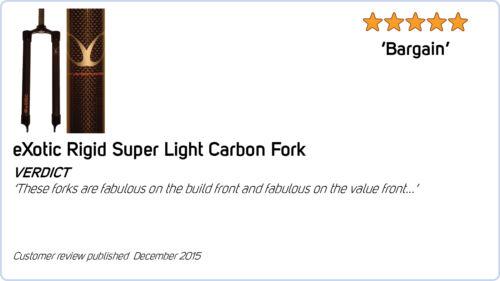 eXotic Rigid Carbon 3K Fork Includes 15mm Quick Release PM Disc 44.5 46.5 49.0cm