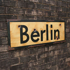 WW2 Berlin Road Sign - German Repro Army Wall Plaque - Military - Steel - Aged
