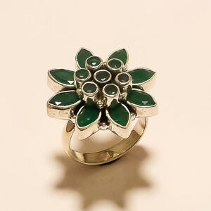 Real Afrizan Emerald Flower Ring 925 Sterling Silver Vintage