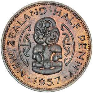 1957-NEW-ZEALAND-1-2-PENNY-BOLD-TONED-NATURAL-COLORING-BU-UNC-SELECT-MR