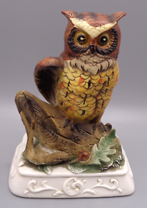 Vintage Large Ceramic Owl Figurine Ardco C2344 Fine Quality Dallas On Platform