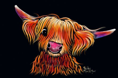 'HuGo THe HiGHLaND CoW' PRINTS of Original Painting by Shirley MacArthur