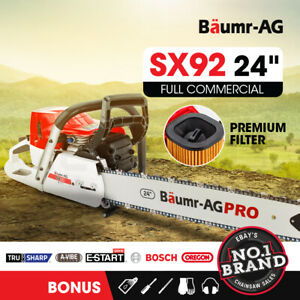 BAUMR-AG Petrol Commercial Chainsaw 24 Bar E-Start Chain Saw Top Handle Pruning