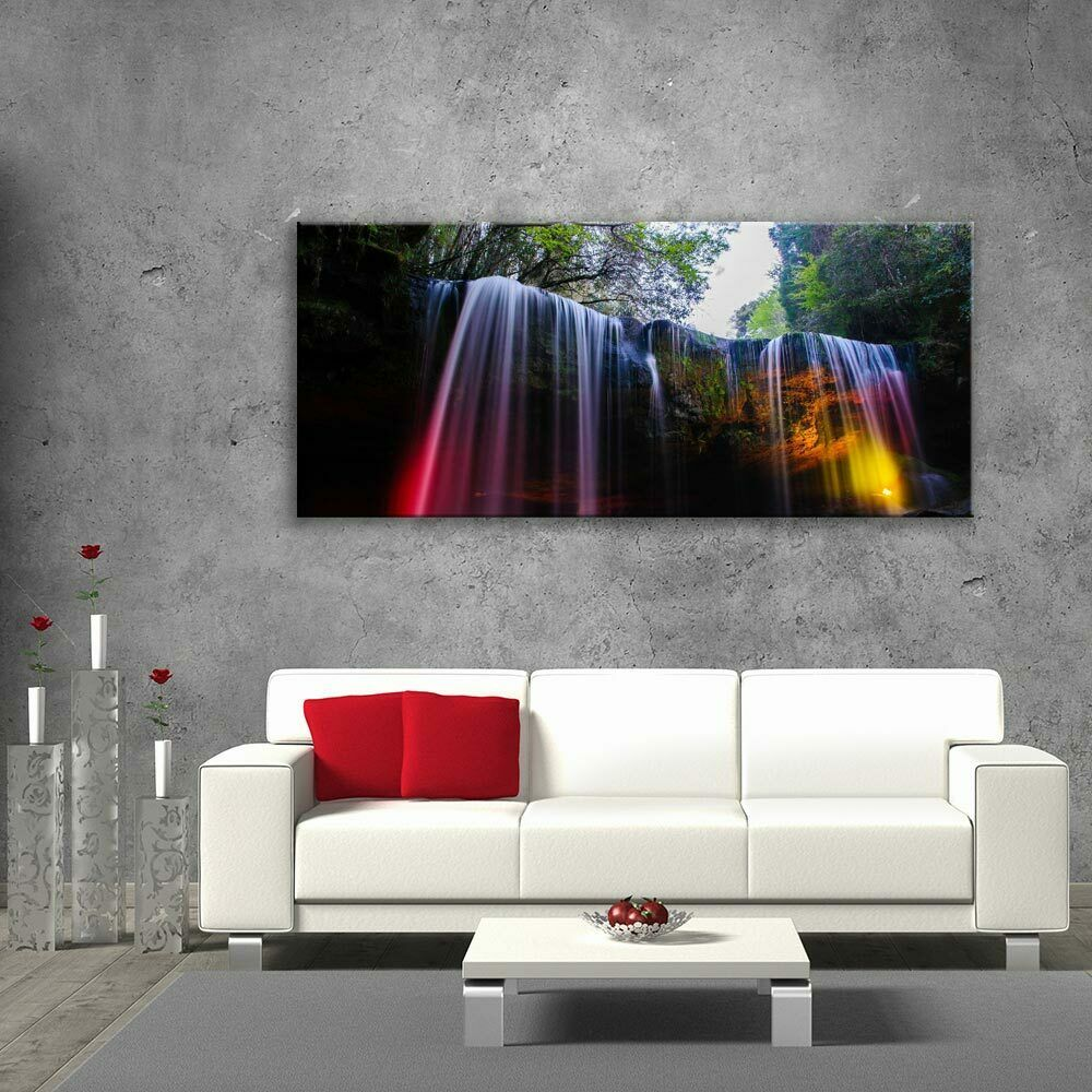 Glass Picture Toughened Wall Art Unique Modern Print Colour Waterfall  Any Größe