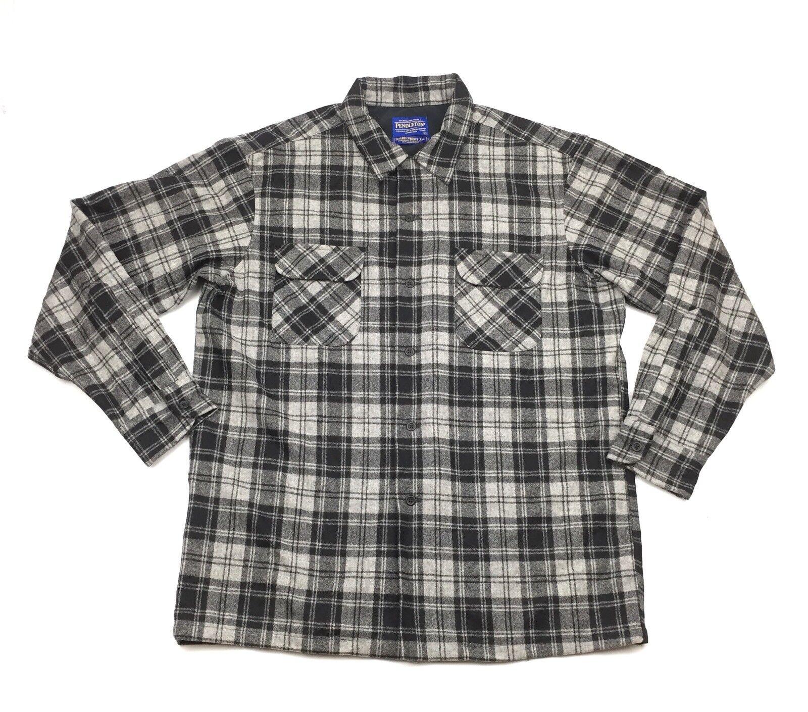 Pendleton Board Shirt Jac Mens Plaid Loop Collar Flannel Long Sleeve Shirt