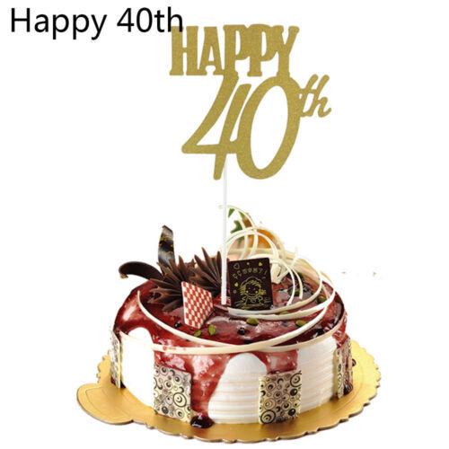 UK Glitter 30th Cake Topper Happy Birthday Anniversary Party Wedding Cake Decor
