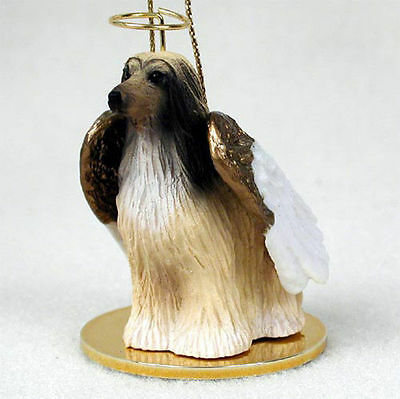 Afghan Hound Dog Figurine Angel Statue Hand Painted Tan & White