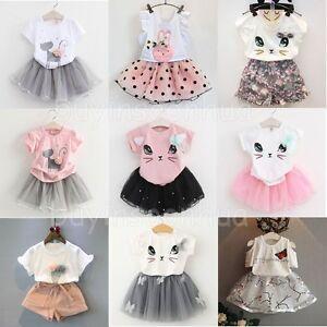 e08d2d4f288a Toddler Kids Baby Girls Outfits Clothes T-shirt Tops+Tutu Dress ...