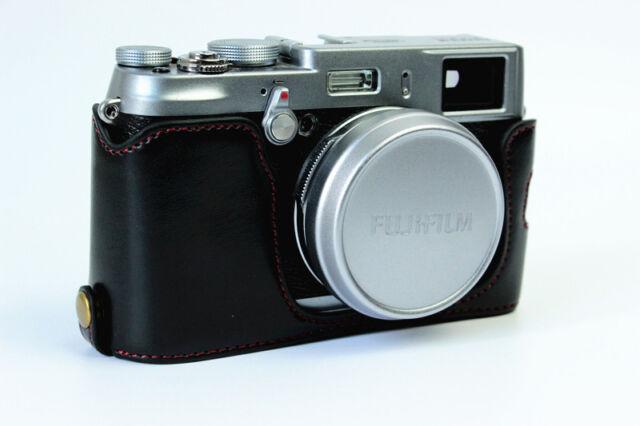 Black Leather Camera half Case Grip for Fujifilm X100T X100 X100S Bottom-open