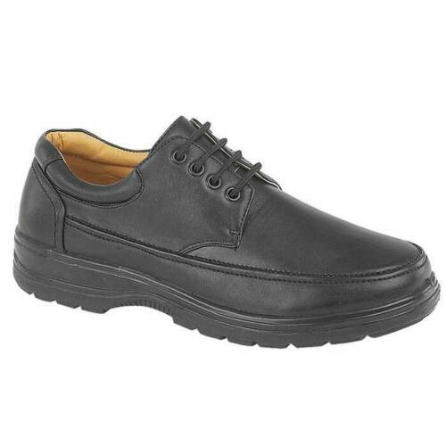 Mens Shoe Laced Black Soft Casual Wide fit Size 6,7,8,9,10,11,12 Touch Fastener