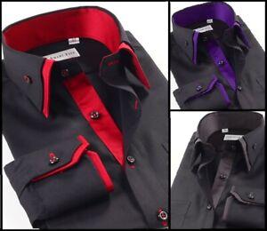 Hommes-Casual-Double-Col-Slim-chemise-formelle-a-manches-longues-design-italien-DC07
