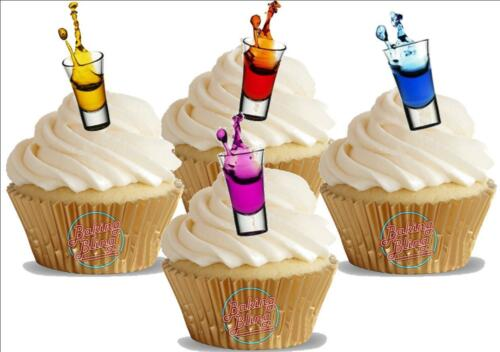 12 Novelty Shots Individual Colour Mix Edible Cupcake Cake Toppers Decorations