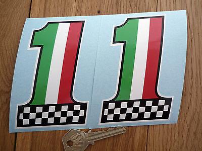 """ITALIAN No 1 Chequered Car Bike STICKERS 4"""" Pr Lambretta Vespa Ducati Alfa Romeo"""