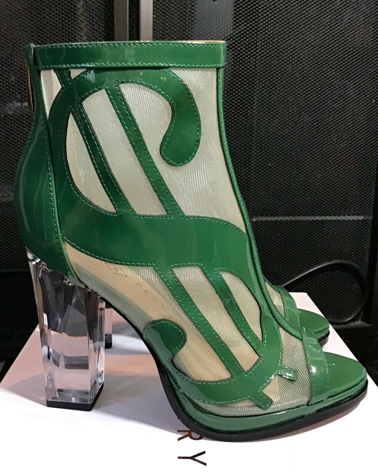 "Katy Perry The Richie Mesh Patent Heels Green Größe 9.5M New In Box 4.25"" Heel"