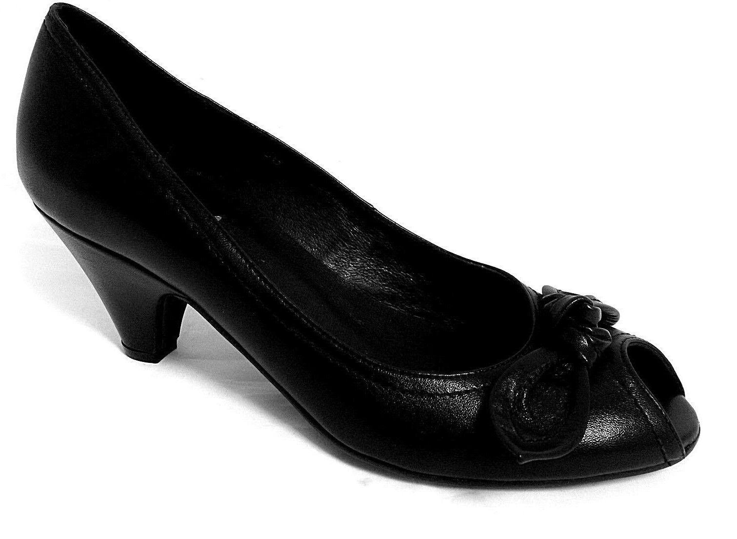CEFALU MOLONE LADIES BLACK LEATHER HEELS PEEP-TOE COURT SHOES WOMANS UK 7-EUR 40