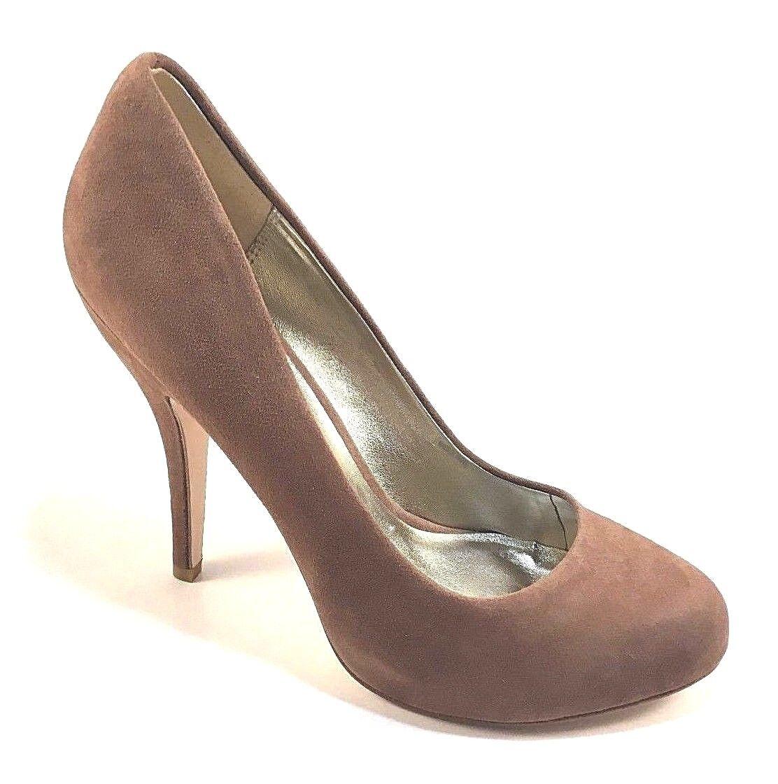 Pelle Moda Yana-12 Latte Suede Leather Round Toe Platform High Heel Pumps