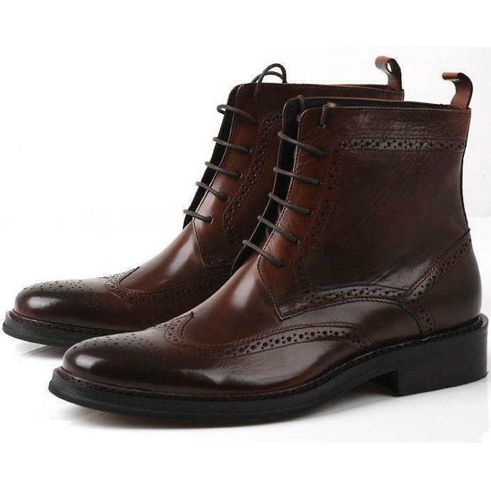 Men's Real Leather oxford Brogue Wingtip lace up Boots Leather military shoes @0