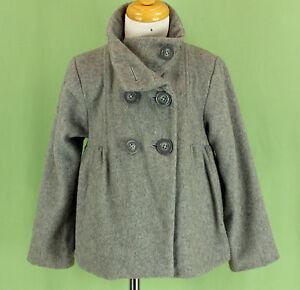 fad7b9f04b58 227 ZARA Kids girl gray WOOL blend winter jacket double breasted ...