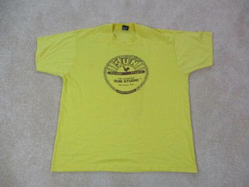 VINTAGE Sun Records Shirt Adult 2XL XXL Yellow Rec