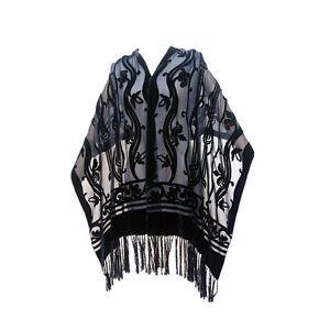 4768fbe27 Image is loading Baroque-SILK-VELVET-Tassels-evening-shawl-velour-wrap-