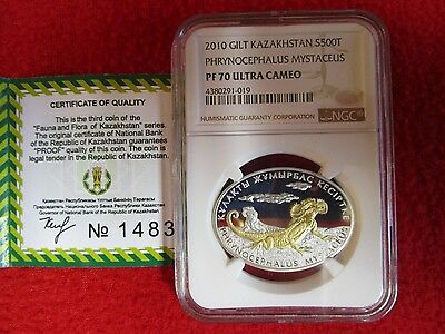Kazakhstan Lizard Phrynocephalus NGC PF70 .999 Gold Plated .925 Silver coin &COA