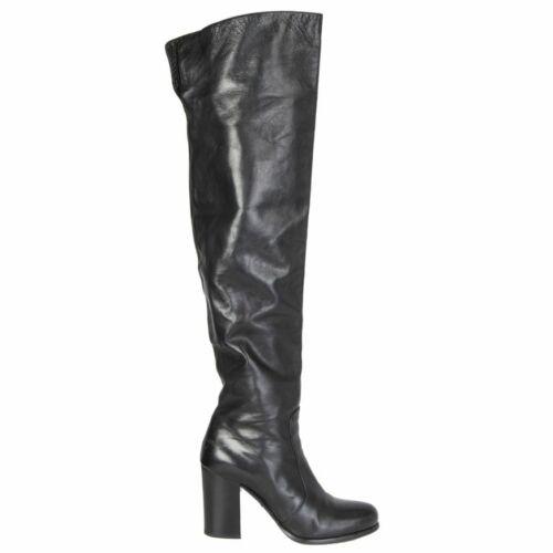 59590 auth PRADA black leather BLOCK HEEL Over-Kne