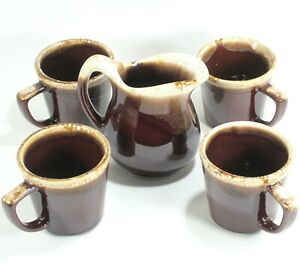 Vintage-McCoy-USA-Brown-Drip-Glaze-Creamer-w-Set-of-4-D-Handle-Coffee-Mugs-Cups