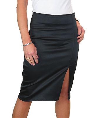 Ladies Black Contrast Stretch Satin Pencil Skirt Animal Print NEW 6-18