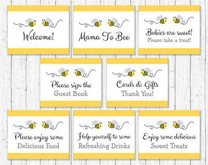 Yellow Grey Bumble Bee Baby Shower Table Signs 8 Printable Signs