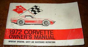 corvette service book owners manual 1972 72 bonus buyers guide 3 rh umrastore top 1972 corvette stingray owners manual 1972 corvette owners manual