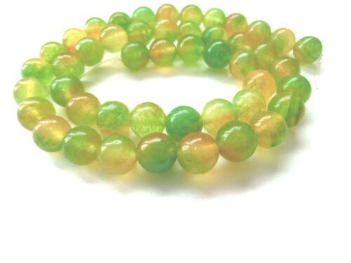 Jade balas perlas verde amarillo 8mm alrededor de joyas perlas 1 Strang #12