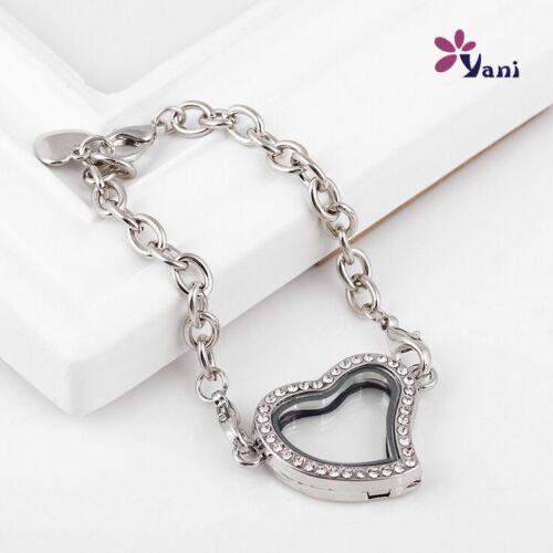 Silve Heart Crystal Magnetic Memory Glass Living Locket Floating Locket Bracelet