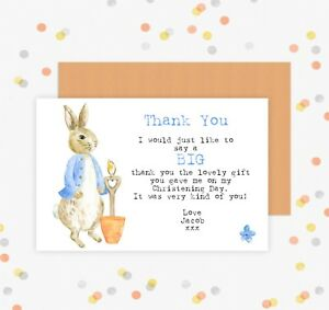 girls birthday 1st Thank you cards 10 PETER RABBIT CHRISTENING INVITES boys