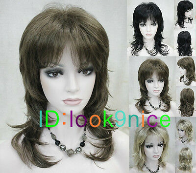 New Curly style (3 colors) Sexy Medium Length women Wig wigs + Free wig cap