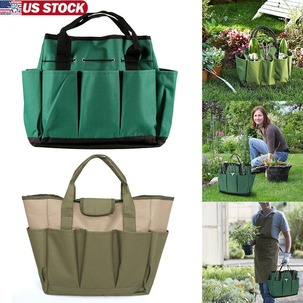 8-Pocket Garden Tool Organiser Bag Kit Tools Carrier Pack Planting Storage Pouch 9