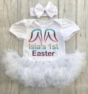 Baby Girl's Personnalisé 1st Pâques Tutu Ange Robe Nouveau-né Cadeau Mignon Party-afficher Le Titre D'origine En Voyageant