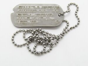 WWII 1943 Army Dog Tag With Arkansas Next Of Kin Address T43 With Bead Chain