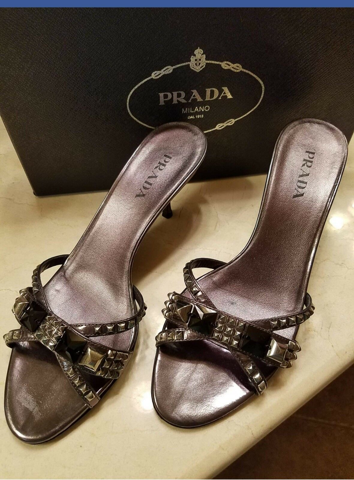 Prada Donna Shoes Size 39 Pewter Heel  Pelle Kitten Heel Pewter a3cdf0