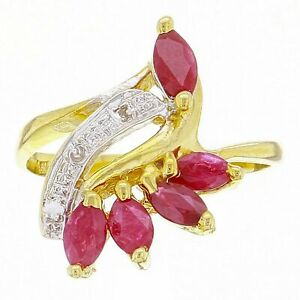 14k-Yellow-Gold-Marquise-Ruby-amp-Diamond-Accent-Leaf-amp-Vine-Ring-Size-6
