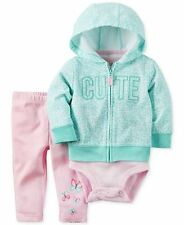 New Carter's Baby Girls 3Pc Cute Hoodie, Bodysuit & Leggings Set, Size 12Months