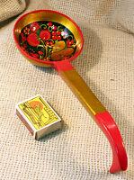 VINTAGE SOVIET RUSSIAN Folk Art KHOKHLOMA Hand PAINTED Wooden Big SPOON Ladle